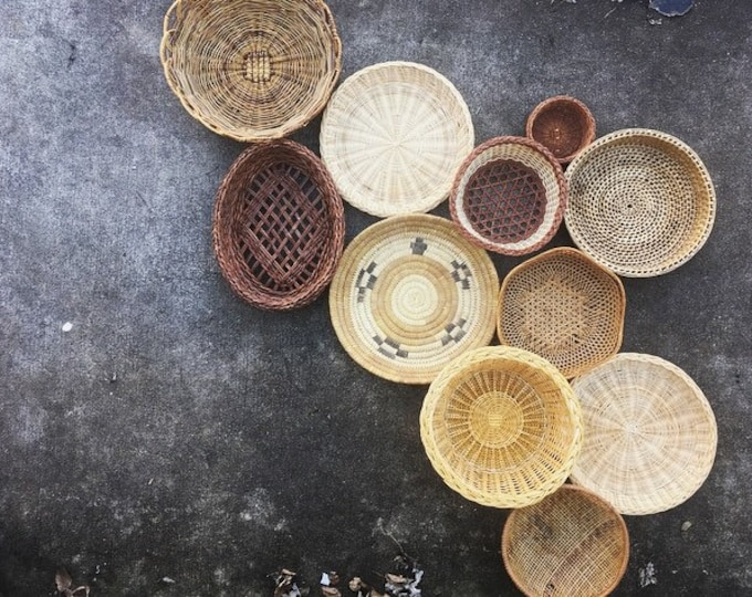 Bohemian Basket andTrivet Collection / Set of 11 Vintage Baskets / Farmhouse or Boho Home and Nursery Decor