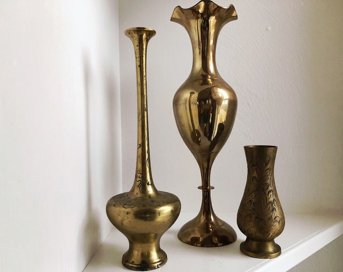 Collection of 3 Vintage Mix and Match Brass Vases / Solid Brass Vase Home Decor / Farmhouse Bohemian Wedding Christmas Event Decor