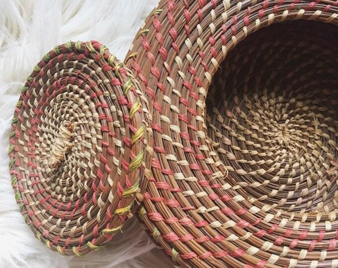 Vintage Lidded Basket / Bohemian Home Decor / Unique Woven Basket