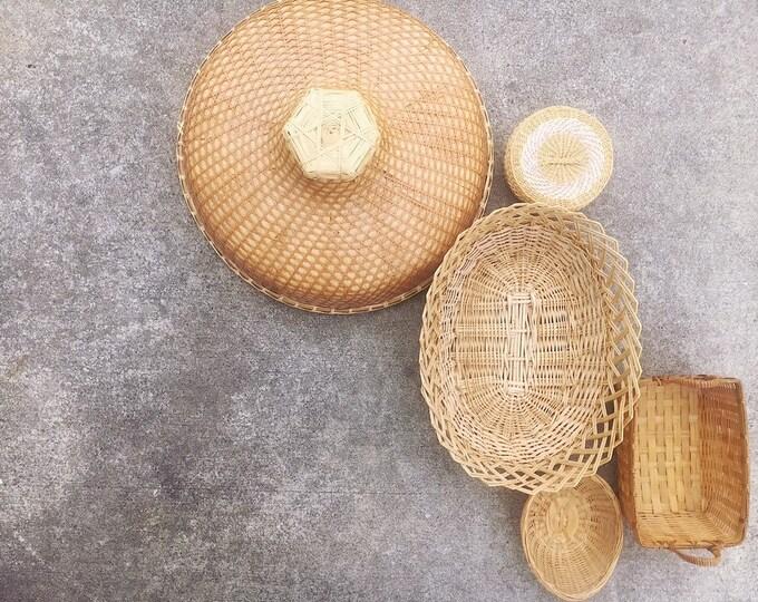 Bohemian Basket and Trivet Collection / Set of 5 Vintage Baskets / Wicker Hat Decor / Farmhouse or Boho Home Decor