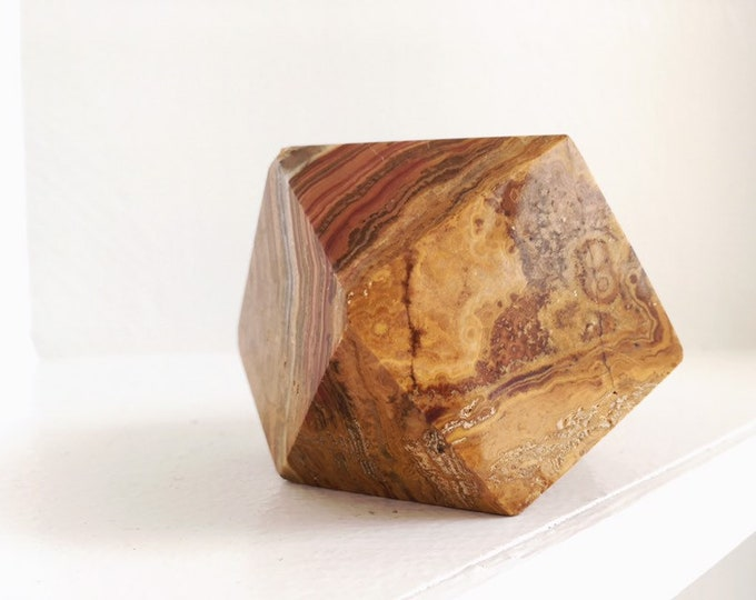 Vintage Geometric Natural Stone Paperweight / Boho Burnt Orange Onyx Stone / Eclectic Home or Office Decor