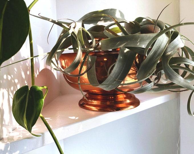 Large Vintage Copper Bowl / Farmhouse Rustic Boho Home and Kitchen Decor / Copper Home Decor