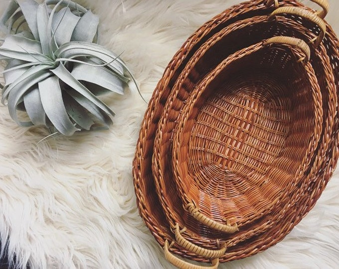 Set of 3 Nesting Baskets with Handles / Bohemian or Farmhouse Home Decor / Wall Basket Collection