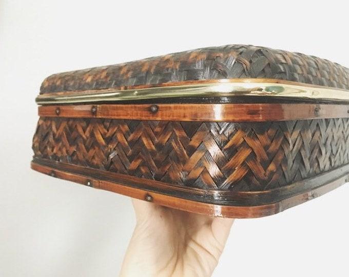 Woven and Brass Lidded Basket / Boho Basket Storage