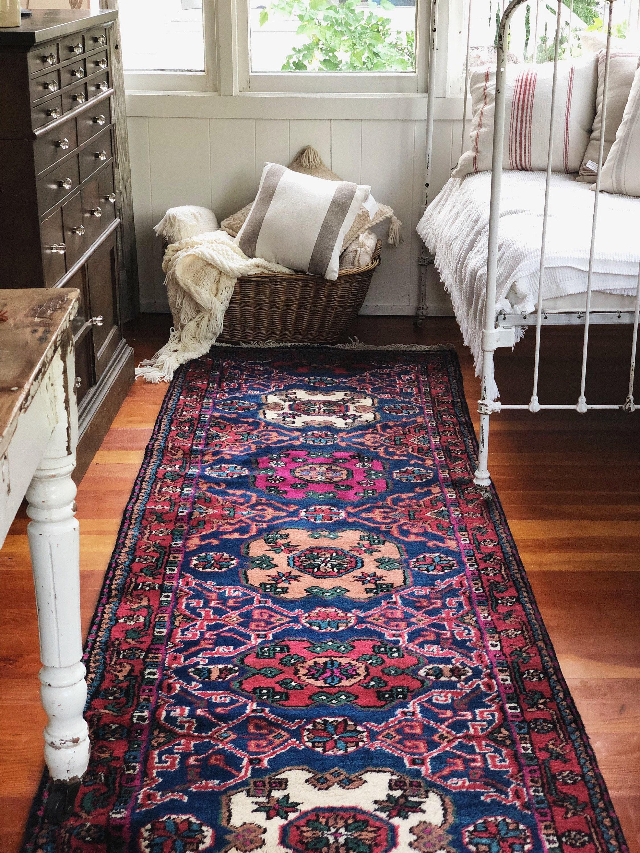 Gorgeous Vintage Turkish Wool Runner Rug Farmhouse Boho