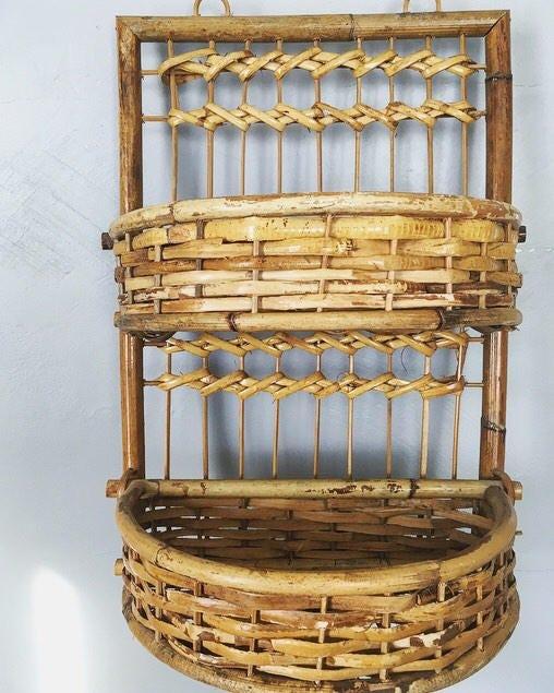 Wicker Wall Shelf Bathroom: Boho Rattan Wall Shelf / Vintage Bamboo Wall Storage Piece
