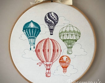 late summer 4 x 4 hoop Embroidery design hot air balloon hot-air balloon aviation embroidery