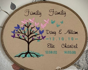 """Embroidery Hoop Personalised Butterfly Tree in an 8x10"""" Oval Hoop Optional Fabric Colour Choice"""