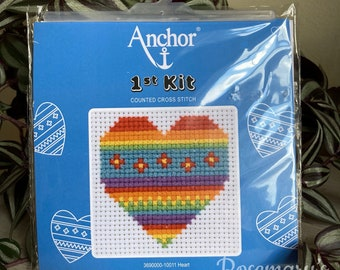 Stitch Your Own Rainbow Heart Cross Stitch 1st First Kit by Anchor