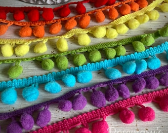 Pom Pom trim 10mm 26 colours to choose from, choose your own colour