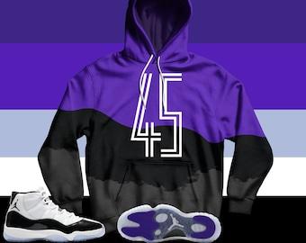 e1eafd999d2 Jordan 11 Retro Concord 2018 Hoodie, Jordan 11 Concord Hoodie, Jordan  Concord Hoodie, Concord Hoodie, Jordan Sweatshirt, THE 45 Hoodie V2