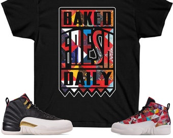 c17fa4322379 Jordan 12 CNY Chinese New Year Sneaker Match Gildan T-Shirt Baked Fresh  Daily