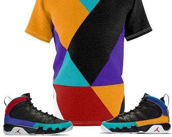 00110fb3d92 Jordan 9 Dream It Do It Sneaker Match Colorblock Cut&Sew T-Shirt