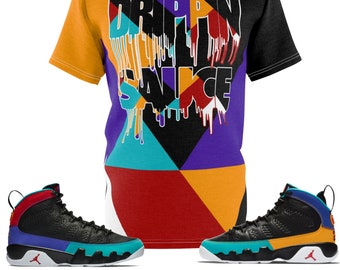 2d820cf60853ad Jordan 9 Dream It Do It Sneaker Match Colorblock Drippin  Sauce Cut Sew T- Shirt