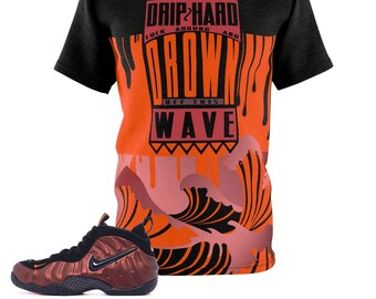 61fcc72b997ee6 Hyper Crimson Foamposite Pro Sneaker Match Colorblock Drip Too Hard Cut Sew  T-Shirt