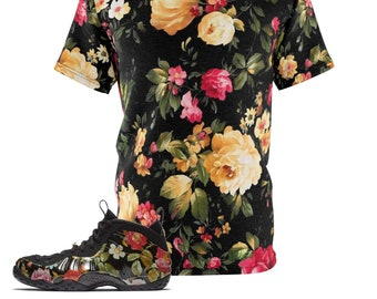 19a549be4b8d5 Foamposite Floral All Over Print Sneaker Match Shirt