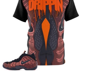 the latest d7762 24579 Hyper Crimson Foamposite Pro Sneaker Match T-Shirt Cut Sew MacroPrint