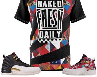 f9f5181445b6 Jordan 12 CNY Chinese New Year Sneaker Match Cut Sew T-Shirt Patterned  Baked Fresh Daily