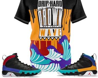 fe758de1b431 Jordan 9 Dream It Do It Sneaker Match Colorblock Drip Too Hard Cut Sew T- Shirt