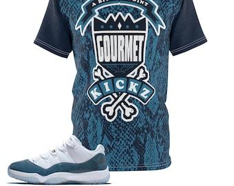 check out 2d3eb 01df3 Jordan 11 Blue Snakeskin Custom Sneaker Match Cut Sew T-Shirt Gourmet Daze