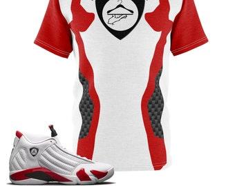 0074223896c2b2 Jordan Retro 14 White   Red Rip Hamilton PE Sneaker Match T-Shirt Cut Sew V1