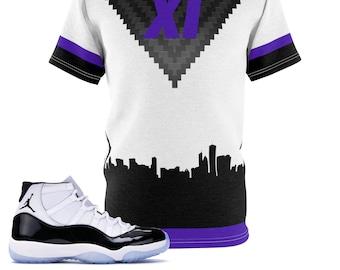 Jordan 11 Retro Concord 2018 Sneaker Match T,Shirt, Carbon Chevron XI  Cut\u0026Sew Shirt