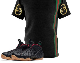 61a8a077d Black Gucci Foamposite Shirt, Foamposite Tee, Foamposite Sneakermatch T- Shirt, What's Gucci Shirt, Simple Stripe Sneaker Match Cut&Sew