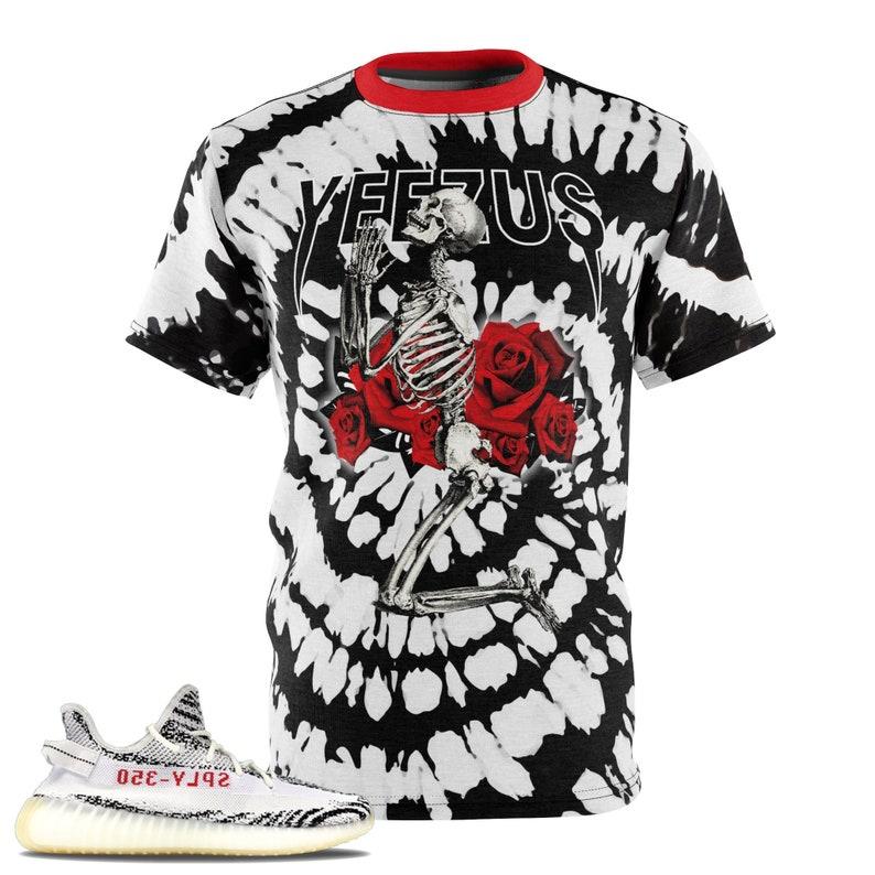 2e524eb170019 Zebra Yeezy Boost 350 V2 T-Shirt, Tie Dye Print Yeezus Inspired Praying  Skeleton, Yeezus Merch Inspired, Yeezy Supply Merch V3