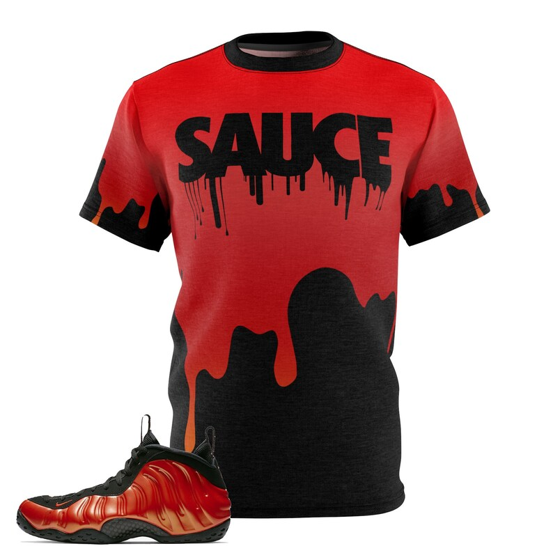new arrival f43b6 93f8c Habanero Red Foamposite Shirt, Foamposite Tee, Foamposite Sneakermatch  T-Shirt, Drippin Sauce Sneaker Match Cut&Sew
