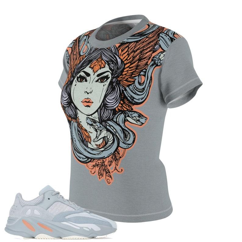 9c4a0af830a05 Women's Yeezy Boost 700 Inertia All Over Print Sneaker Match T-Shirt, Yeezy  Boost Inertia Shirt, Yeezy 700 Inertia T-Shirt, Cut&Sew Medusa