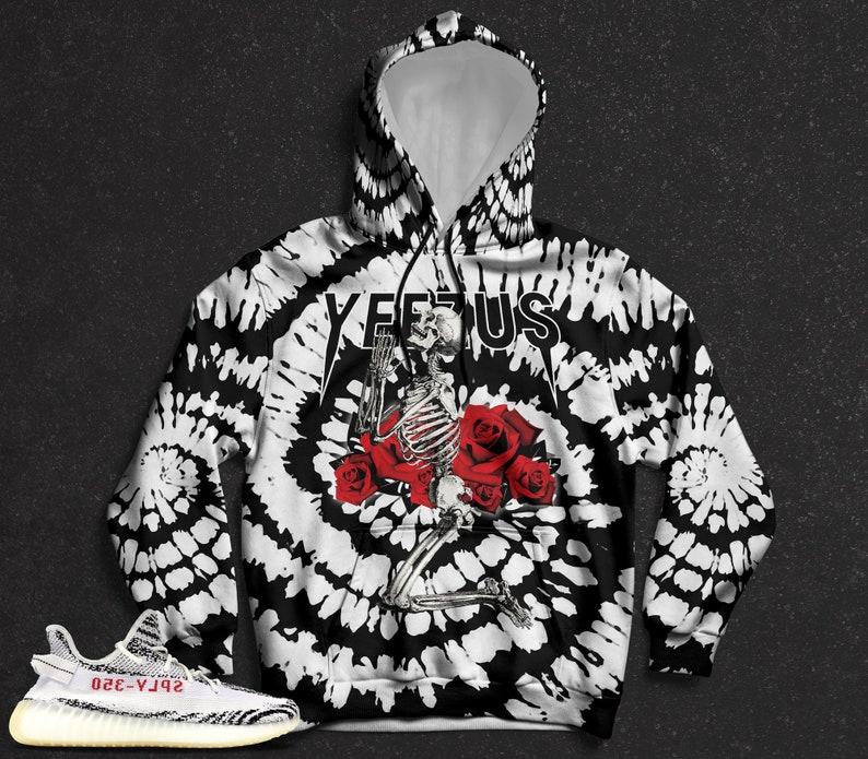 adc2c0816012a Zebra Yeezy Boost 350 V2 Hoodie, Pullover Hoodie for Zebra Yeezys,  Sneakermatch Yeezy Hoodie, Zebra Tie Dye Print Yeezus Skeleton, Cut&Sew