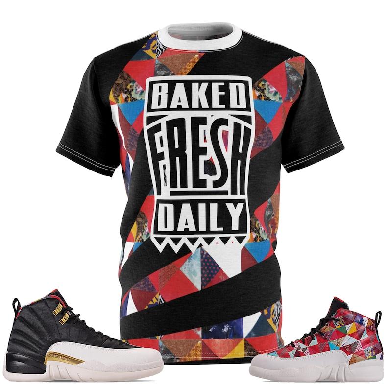0737ac21657 Jordan 12 CNY Chinese New Year Sneaker Match Cut&Sew T-Shirt | Etsy