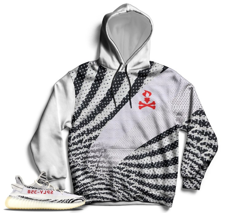 super popular 4c578 b9d56 Zebra Yeezy Boost 350 V2 Hoodie, Pullover Hoodie for Zebra Yeezys,  Sneakermatch Yeezy Hoodie, Zebra Yeezy Print Hoodie, Cut&Sew