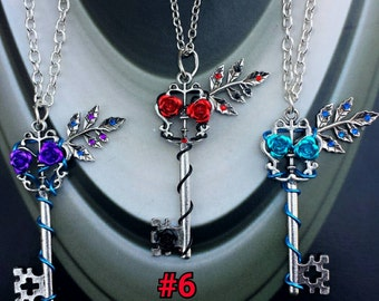 Flower key necklace key pendant blue red silver purple rose charm leaf charm gothic jewelry key jewelry fantasy necklace wedding necklace