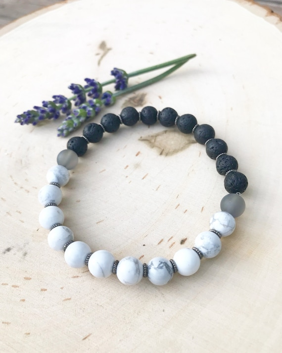 Essential Oil Diffuser Bracelet- Yin and Yang - Howlite and Lava Bead Bracelet- Holistic Jewelry- Healing Jewelry