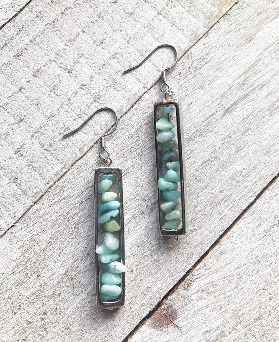 Amazonite Earrings- Amazonite- Silver Earrings- Gemstone Earrings- Crystal Earrings