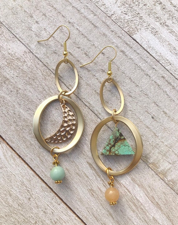 Asymmetrical Earrings- Mismatched Earrings- Gemstone Earrings- Gold Dangle Earrings- Turquoise Earrings
