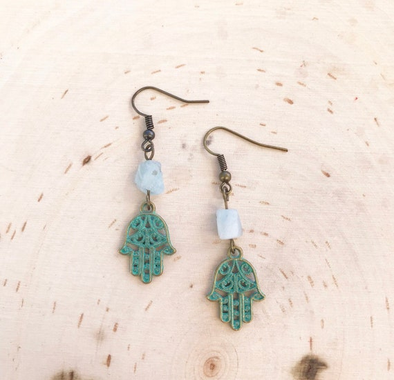 Hamsa Earrings- Aquamarine Earrings- Gemstone Earrings- Hamsa Jewelry