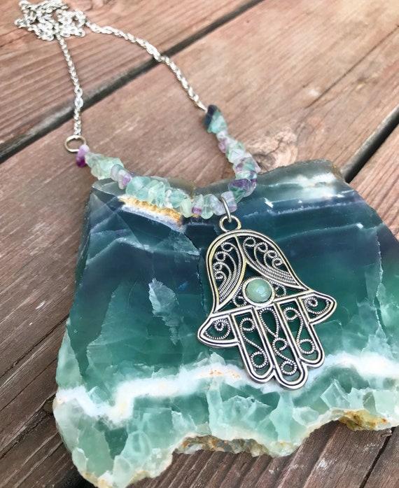 Fluorite Hamsa Necklace- Hamsa Necklace- Silver Hamsa- Fluorite Jewelry