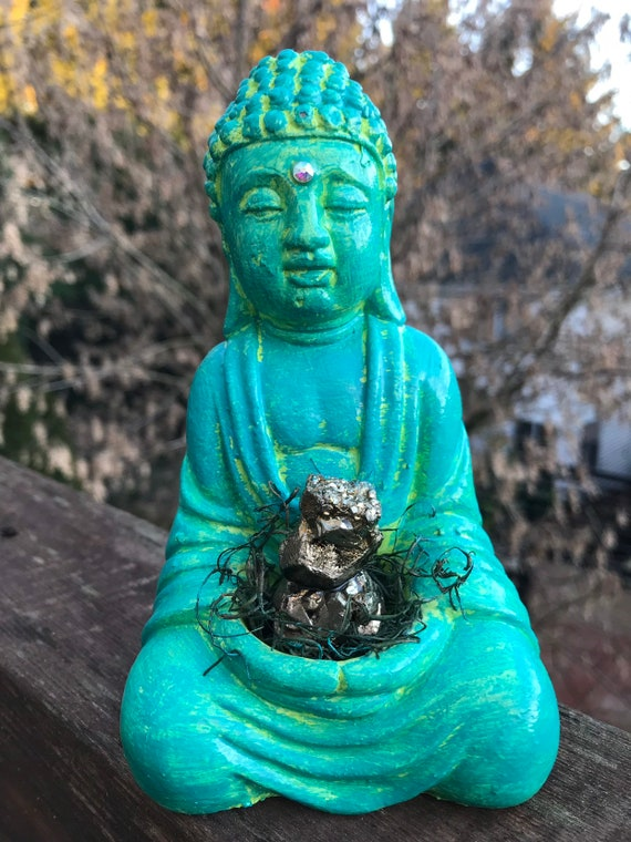 Buddha Statue- Turquoise -Green Buddha- Home Decor- Crystal Buddha- Pyrite- Altar Buddha