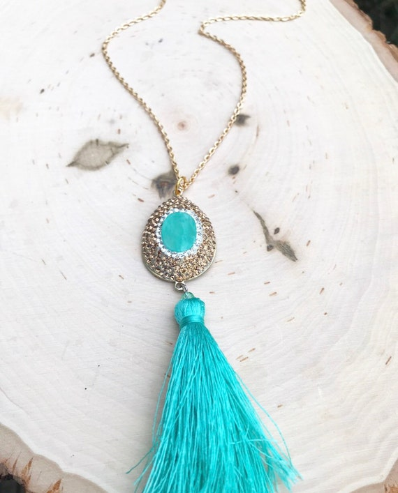 Chrysoprase Tear Drop Pendant with Swarovski Crystals- Tassel Necklace- Mint Stone Jewelry- Gold Crystals- Gold Necklace