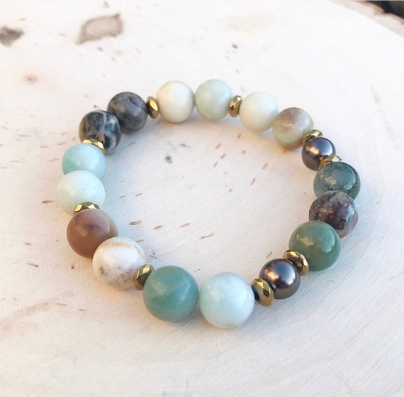 Intention Bracelet- Amazonite Bracelet- Amazonite Jewelry- Crystal Bracelet- Gemstone Bracelet