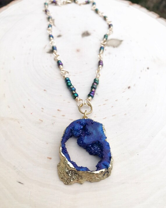 Royal Blue Druzy Necklace- Electroplated Gold Druzy- Blue Druzy- Quartz Druzy Necklace- Rosary Style Chain