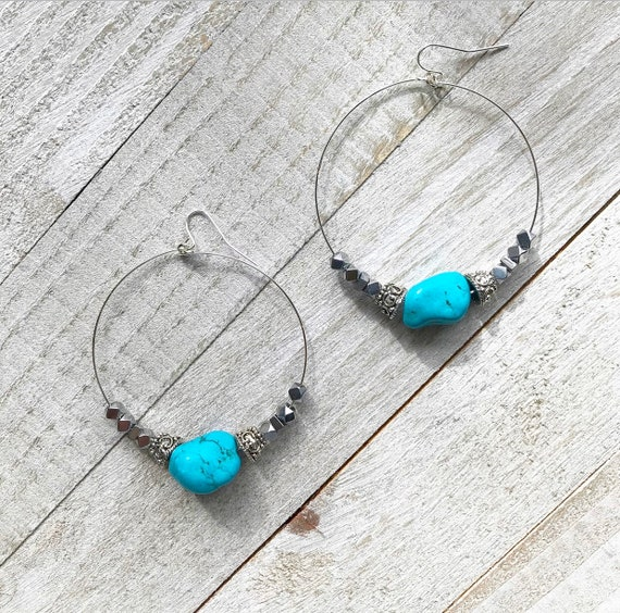 NEW Turquoise Hoops- Turquoise Howlite- Silver Hoops- Turquoise Jewelry- Hoop Earrings