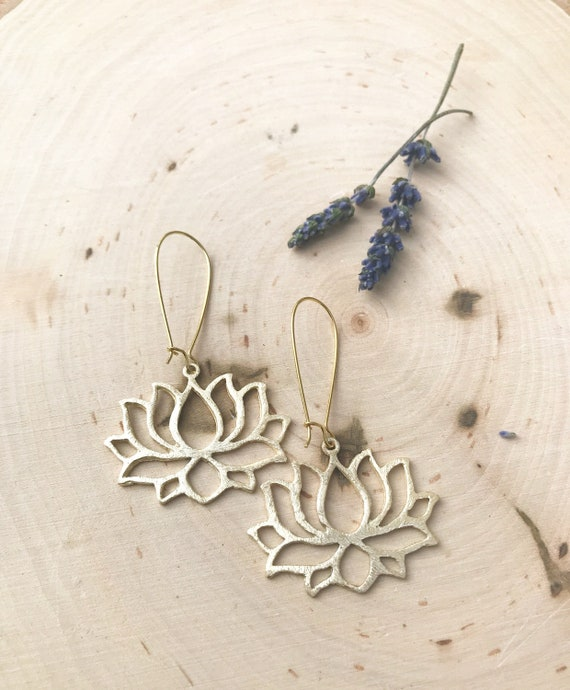 Lotus Earrings- Lotus Jewelry- Gold Jewelry- Flower Jewelry