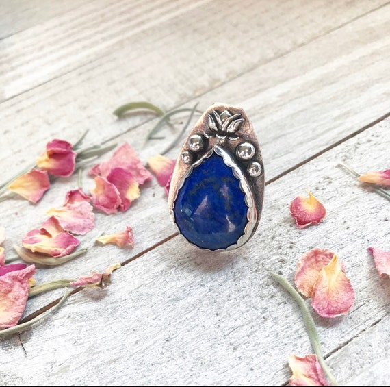 Super BLUE Lapis Lazuli Lotus Ring- Lotus Jewelry- Silver Lotus Ring