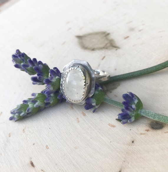 Moonstone and Sterling Silver Ring - Size 5 - Genuine gemstones- Sterling Silver Jewelry- Statement Ring