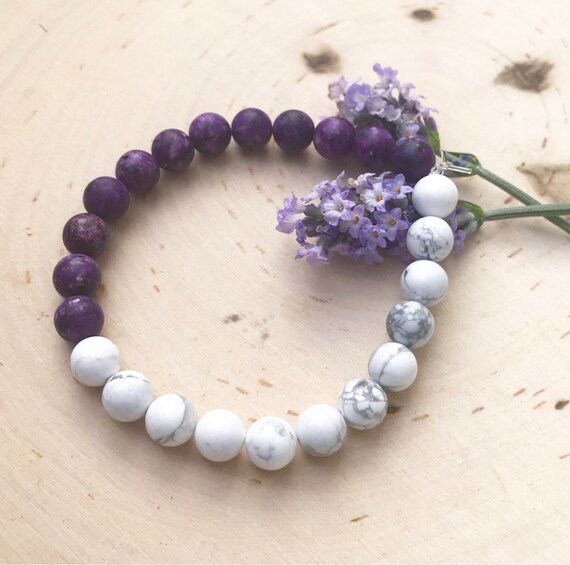 Gemstone Bracelet- Matte Beads- Purple jasper- Howlite Jewelry- Healing Jewelry- Holisitic Jewelry