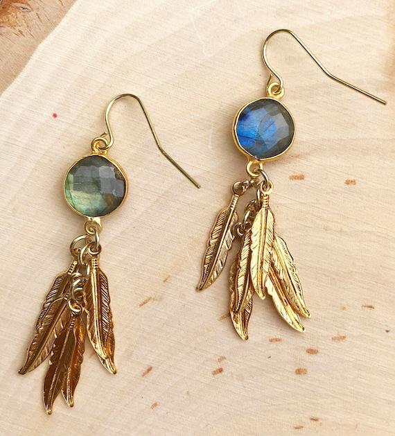 Labradorite Earrings- Gold Earrings- Feathers- Feather Jewelry