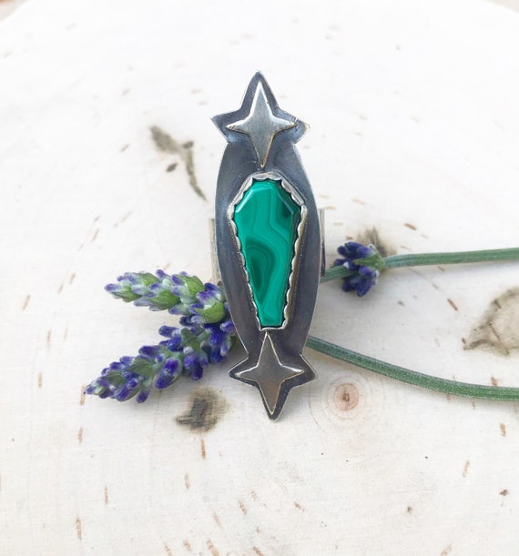 Coffin Ring- Malachite Night- Large Sterling Silver Coffin Stone Statement Ring- Malachite Stone- Size 8- Coffin Ring